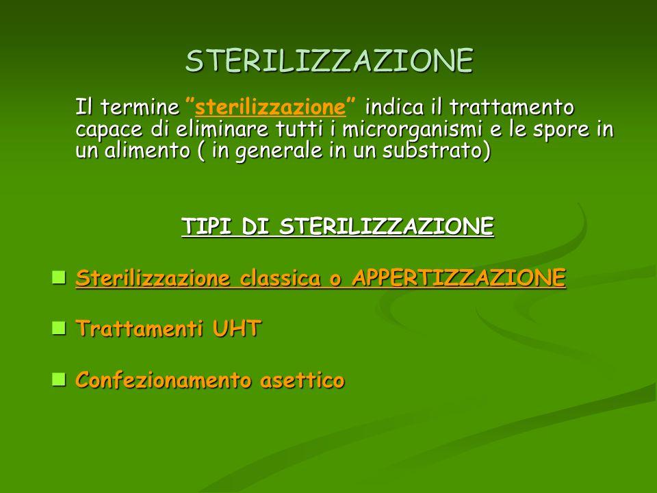 STERILIZZAZIONE Il termine indica il trattamento capace di eliminare tutti i microrganismi e le spore in un alimento ( in generale in un substrato) Il