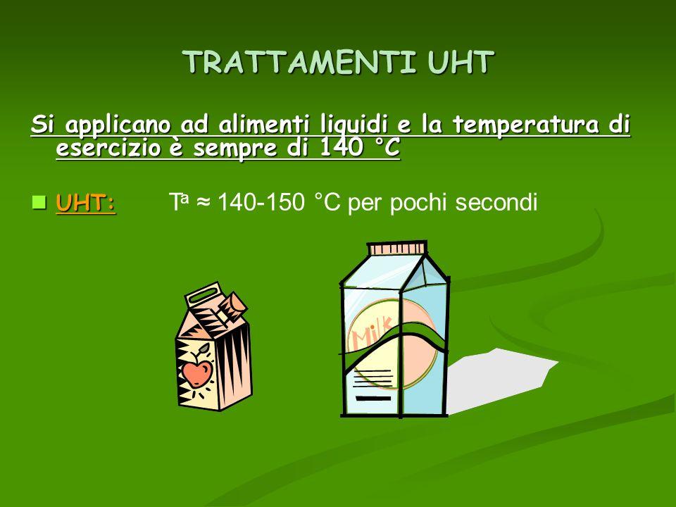 TRATTAMENTI UHT Si applicano ad alimenti liquidi e la temperatura di esercizio è sempre di 140 °C UHT: UHT: T a 140-150 °C per pochi secondi