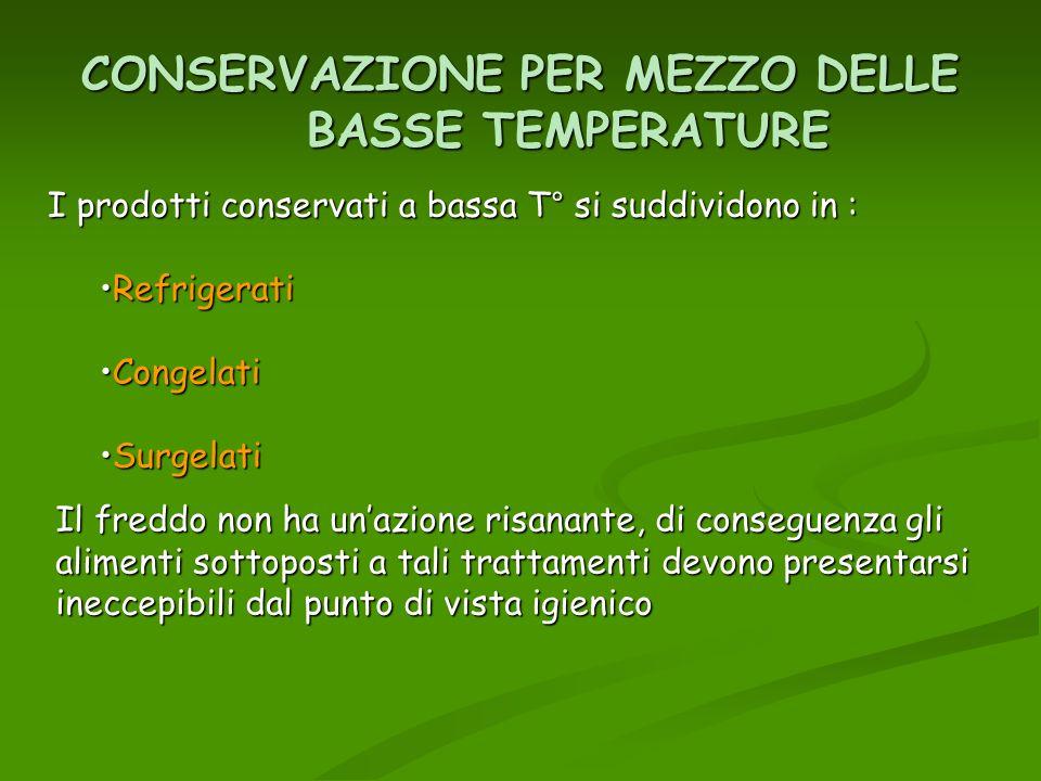 CONSERVAZIONE PER MEZZO DELLE BASSE TEMPERATURE I prodotti conservati a bassa T° si suddividono in : RefrigeratiRefrigerati CongelatiCongelati Surgela