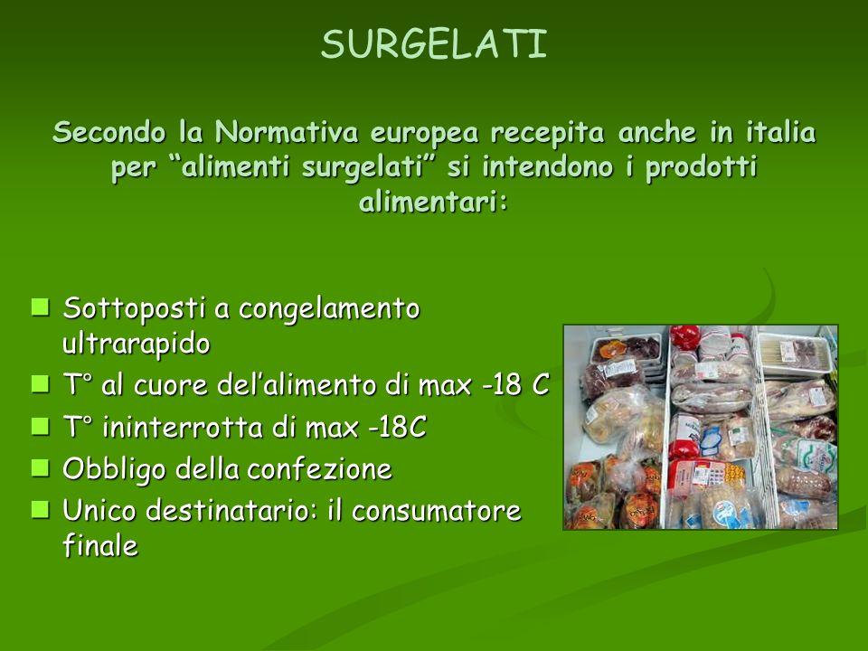 Secondo la Normativa europea recepita anche in italia per alimenti surgelati si intendono i prodotti alimentari: SURGELATI Secondo la Normativa europe