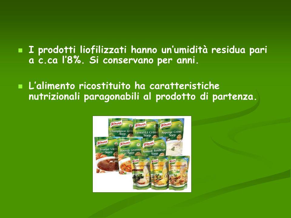 I prodotti liofilizzati hanno unumidità residua pari a c.ca l8%. Si conservano per anni. Lalimento ricostituito ha caratteristiche nutrizionali parago