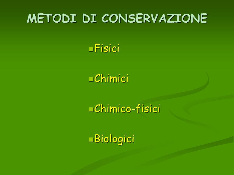 METODI DI CONSERVAZIONE Fisici Fisici Chimici Chimici Chimico-fisici Chimico-fisici Biologici Biologici