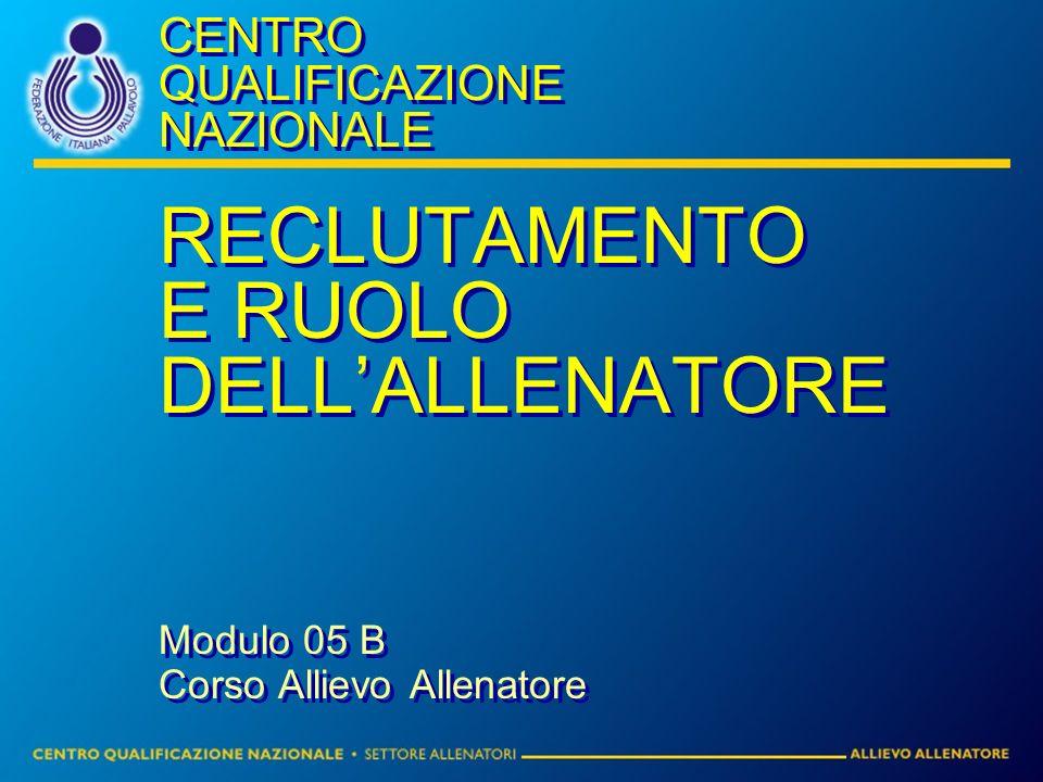 CENTRO QUALIFICAZIONE NAZIONALE RECLUTAMENTO E RUOLO DELLALLENATORE Modulo 05 B Corso Allievo Allenatore RECLUTAMENTO E RUOLO DELLALLENATORE Modulo 05
