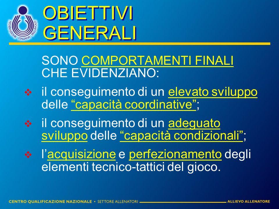 OBIETTIVI GENERALI SONO COMPORTAMENTI FINALI CHE EVIDENZIANO: il conseguimento di un elevato sviluppo delle capacità coordinative; il conseguimento di