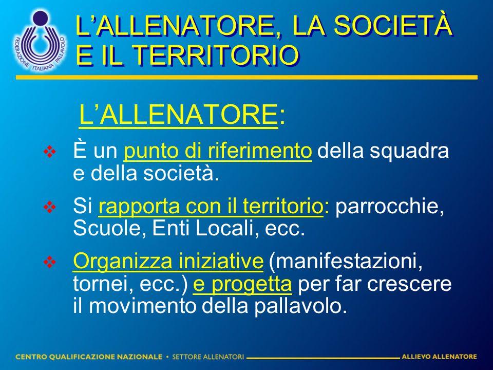 LALLENATORE, LA SOCIETÀ E IL TERRITORIO LALLENATORE: È un punto di riferimento della squadra e della società. Si rapporta con il territorio: parrocchi
