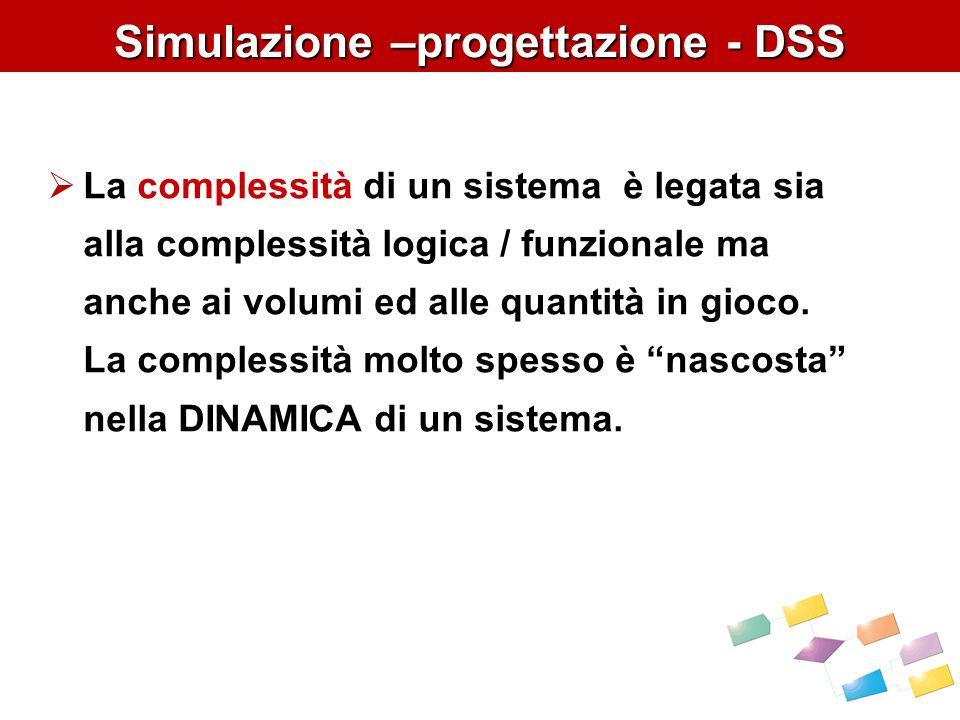 Simulazione –progettazione - DSS La complessità di un sistema è legata sia alla complessità logica / funzionale ma anche ai volumi ed alle quantità in gioco.