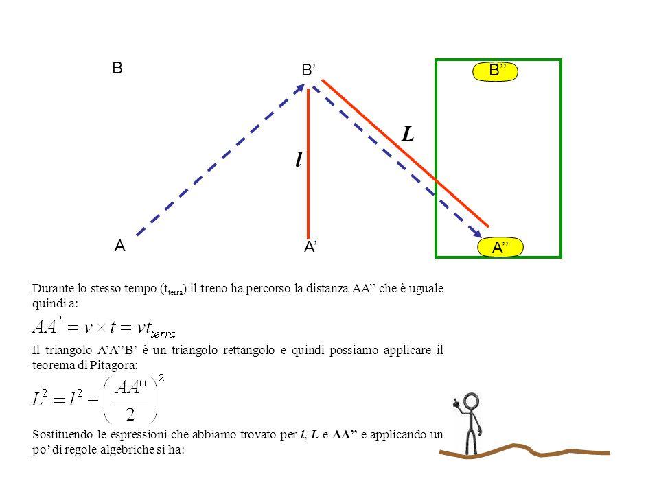 A B l A B A B L Durante lo stesso tempo (t terra ) il treno ha percorso la distanza AA che è uguale quindi a: Il triangolo AAB è un triangolo rettango