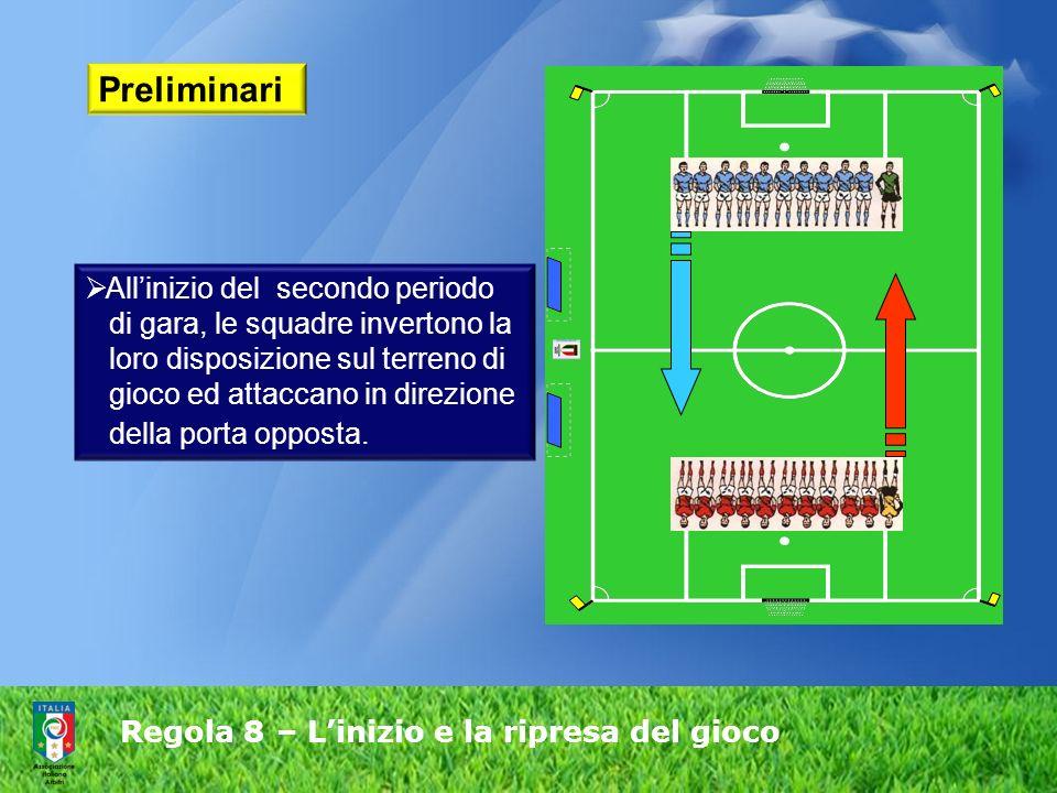 Regola 8 – Linizio e la ripresa del gioco Preliminari Allinizio del secondo periodo di gara, le squadre invertono la loro disposizione sul terreno di gioco ed attaccano in direzione della porta opposta.