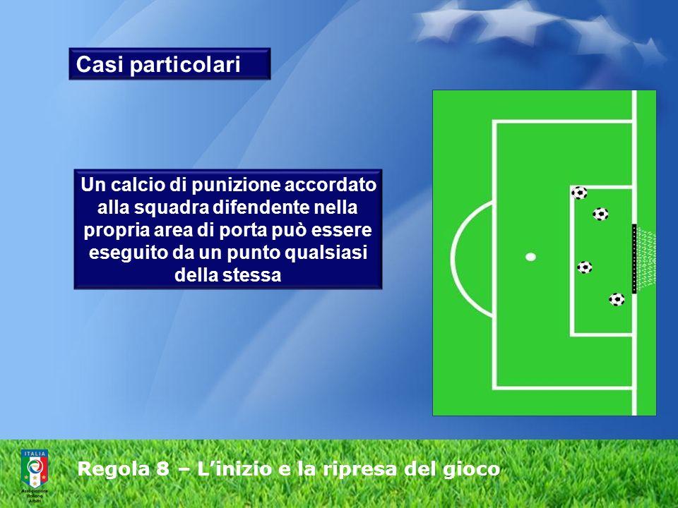 Regola 8 – Linizio e la ripresa del gioco Casi particolari Un calcio di punizione accordato alla squadra difendente nella propria area di porta può essere eseguito da un punto qualsiasi della stessa