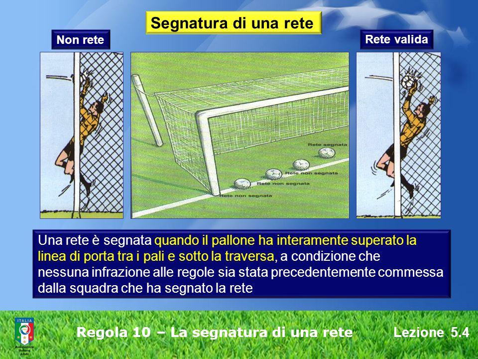 Lezione 5.4 Regola 10 – La segnatura di una rete Segnatura di una rete Una rete è segnata quando il pallone ha interamente superato la linea di porta tra i pali e sotto la traversa, a condizione che nessuna infrazione alle regole sia stata precedentemente commessa dalla squadra che ha segnato la rete Non rete Rete valida