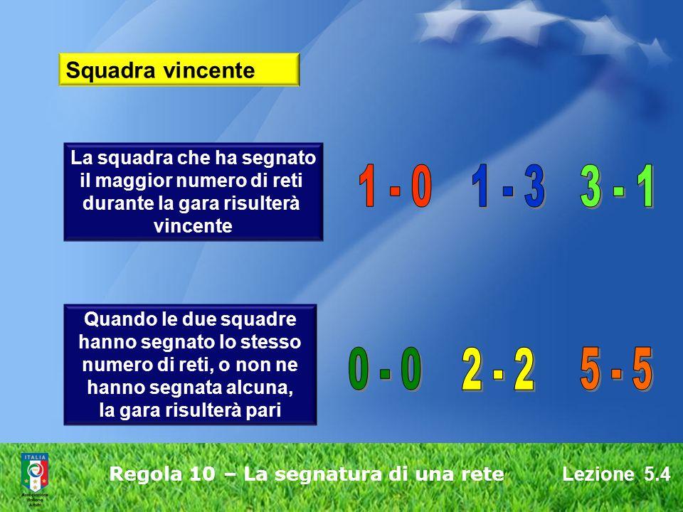 Lezione 5.4 Regola 10 – La segnatura di una rete Squadra vincente La squadra che ha segnato il maggior numero di reti durante la gara risulterà vincente Quando le due squadre hanno segnato lo stesso numero di reti, o non ne hanno segnata alcuna, la gara risulterà pari