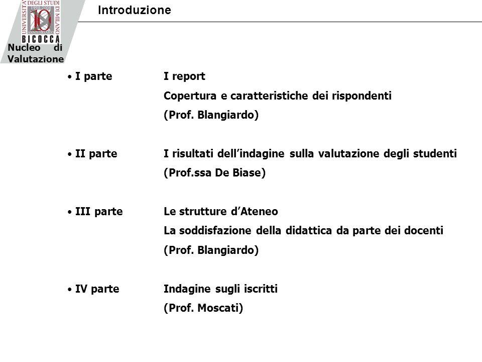 Nucleo di Valutazione Introduzione I parteI report Copertura e caratteristiche dei rispondenti (Prof. Blangiardo) II parteI risultati dellindagine sul