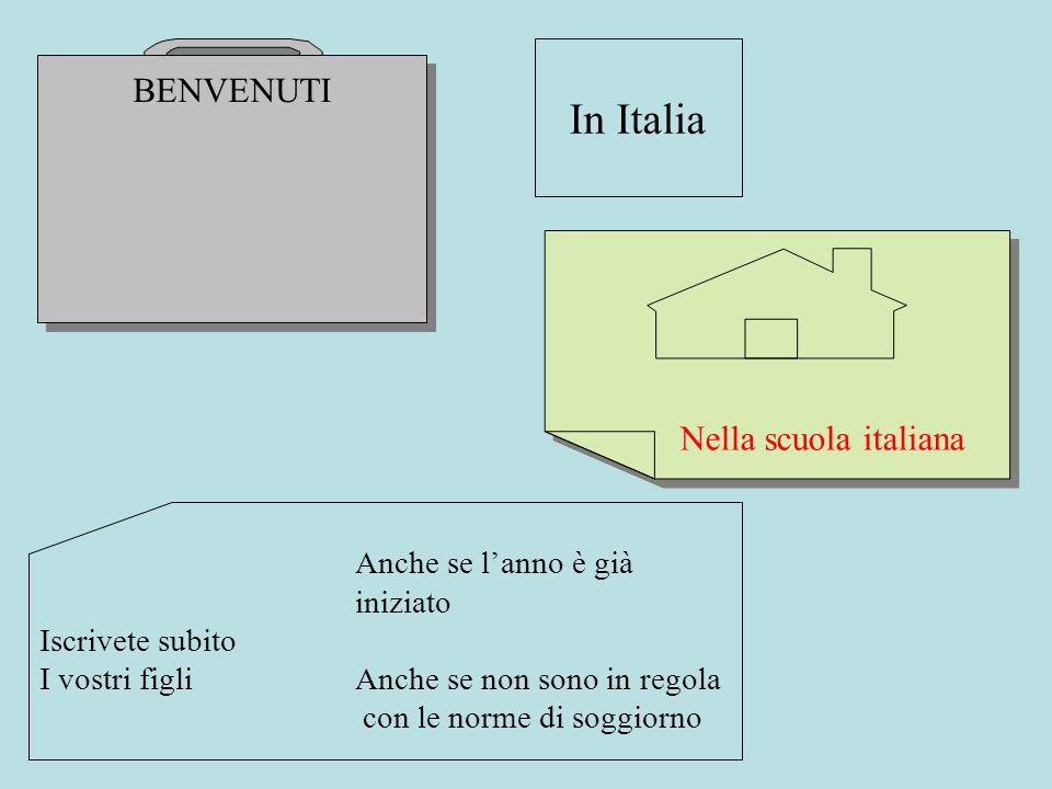 BENVENUTI In Italia Nella scuola italiana Anche se lanno è già iniziato Iscrivete subito I vostri figli Anche se non sono in regola con le norme di so