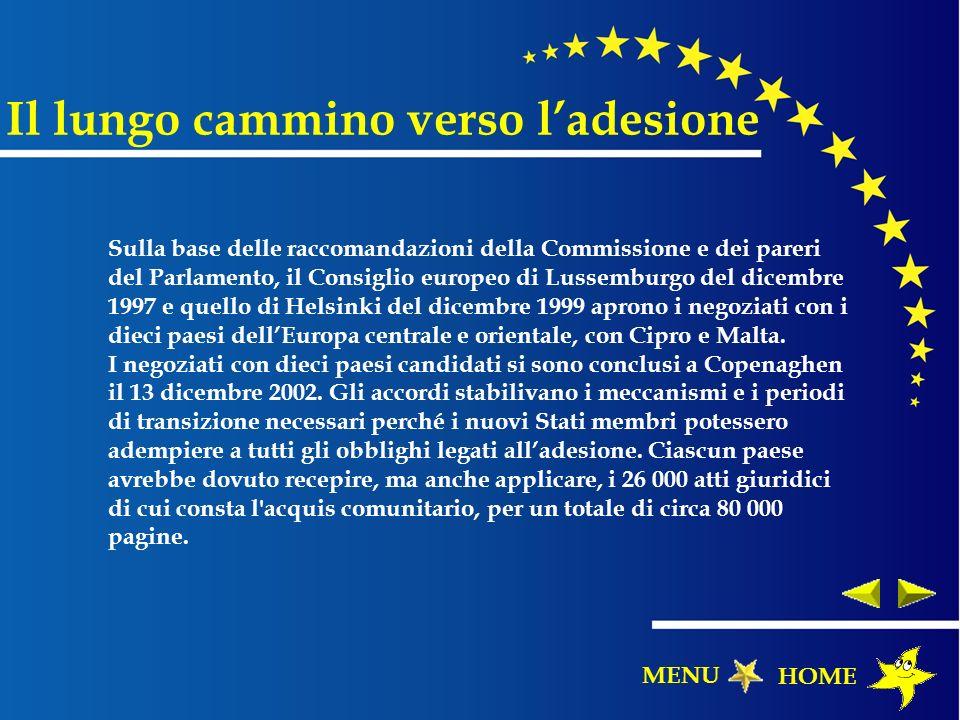 Il lungo cammino verso ladesione Sulla base delle raccomandazioni della Commissione e dei pareri del Parlamento, il Consiglio europeo di Lussemburgo d