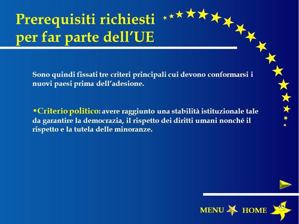 Prerequisiti richiesti per far parte dellUE Sono quindi fissati tre criteri principali cui devono conformarsi i nuovi paesi prima delladesione. Criter