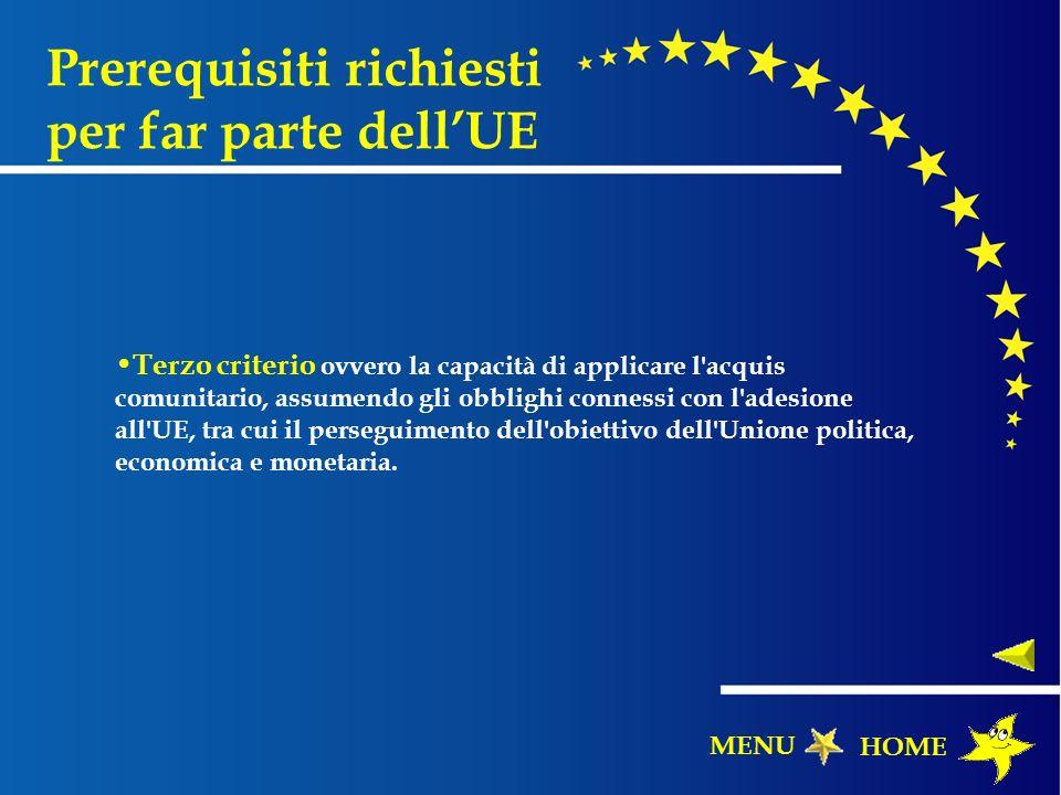 Prerequisiti richiesti per far parte dellUE Terzo criterio ovvero la capacità di applicare l'acquis comunitario, assumendo gli obblighi connessi con l