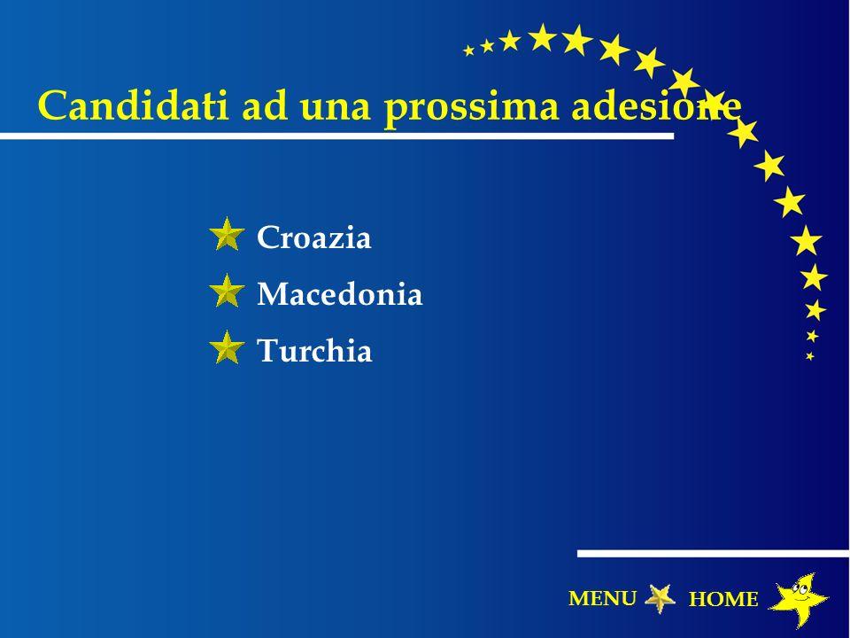 Candidati ad una prossima adesione Croazia Macedonia Turchia HOME MENU