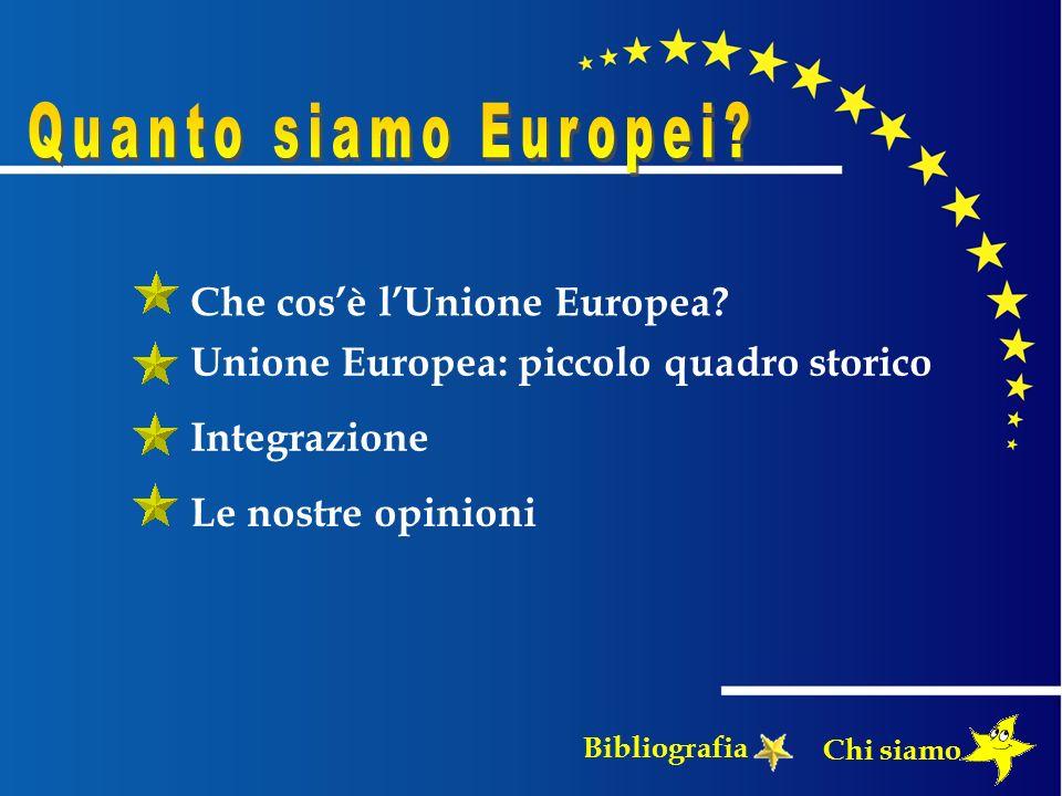 Che cosè lUnione Europea? Unione Europea: piccolo quadro storico Integrazione Le nostre opinioni Chi siamo Bibliografia