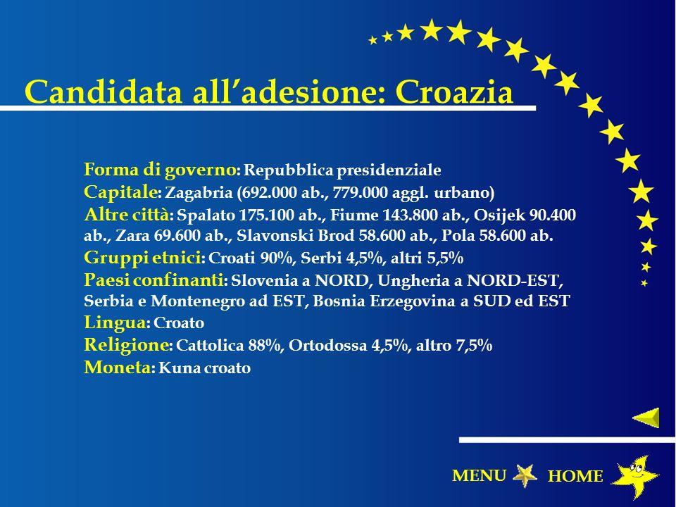Candidata alladesione: Croazia Forma di governo : Repubblica presidenziale Capitale : Zagabria (692.000 ab., 779.000 aggl. urbano) Altre città : Spala