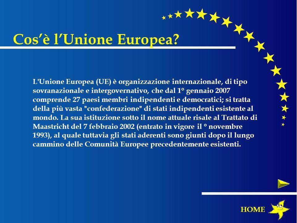 L'Unione Europea (UE) è organizzazione internazionale, di tipo sovranazionale e intergovernativo, che dal 1° gennaio 2007 comprende 27 paesi membri in