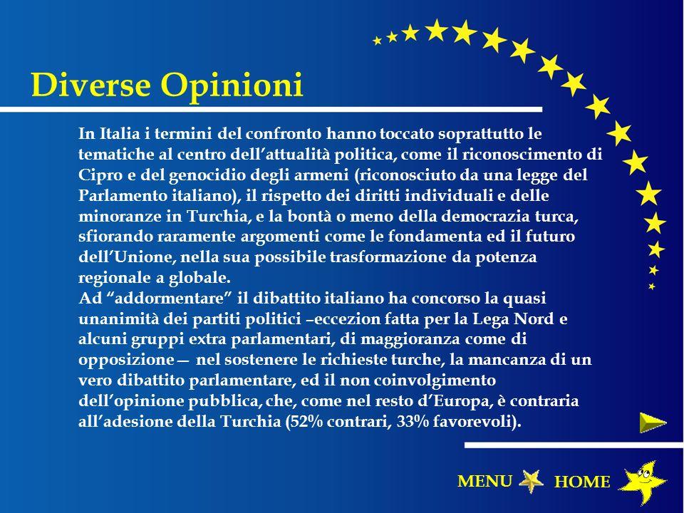 In Italia i termini del confronto hanno toccato soprattutto le tematiche al centro dellattualità politica, come il riconoscimento di Cipro e del genoc