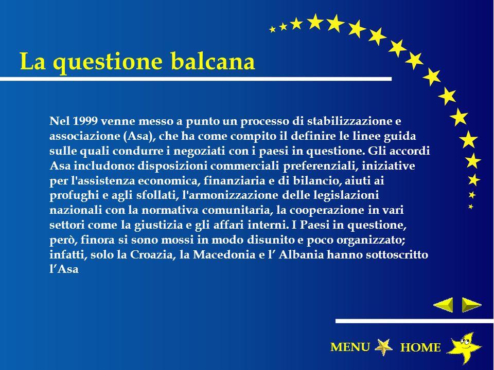 La questione balcana Nel 1999 venne messo a punto un processo di stabilizzazione e associazione (Asa), che ha come compito il definire le linee guida