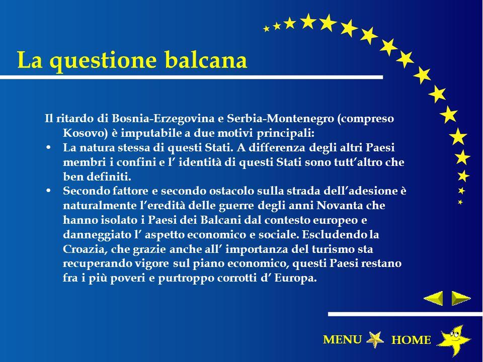 La questione balcana Il ritardo di Bosnia-Erzegovina e Serbia-Montenegro (compreso Kosovo) è imputabile a due motivi principali: La natura stessa di q