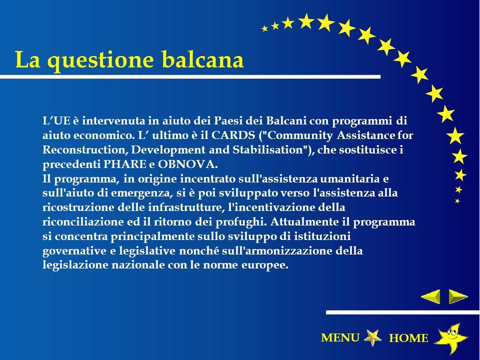 LUE è intervenuta in aiuto dei Paesi dei Balcani con programmi di aiuto economico. L ultimo è il CARDS (