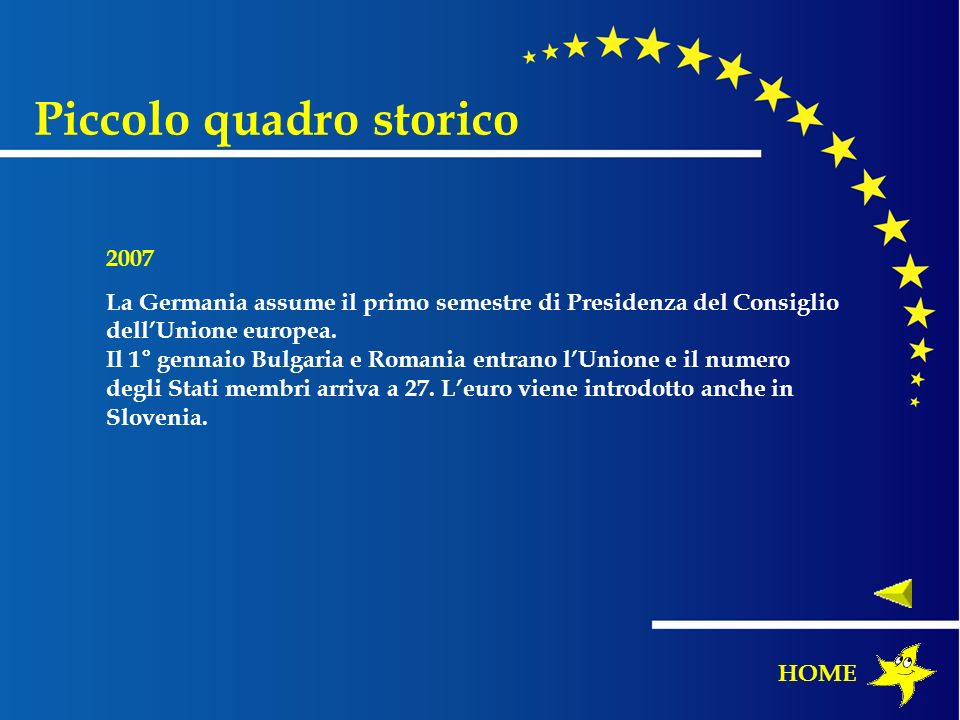 Piccolo quadro storico 2007 La Germania assume il primo semestre di Presidenza del Consiglio dellUnione europea. Il 1° gennaio Bulgaria e Romania entr
