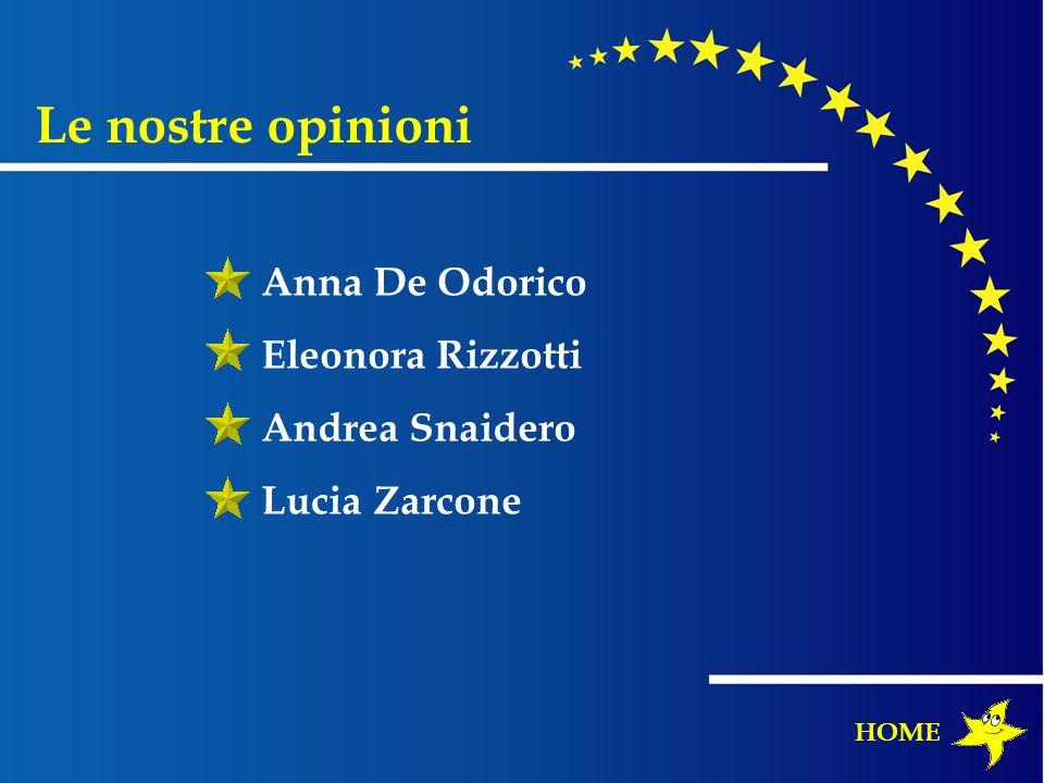 Le nostre opinioni Anna De Odorico Eleonora Rizzotti Andrea Snaidero Lucia Zarcone HOME