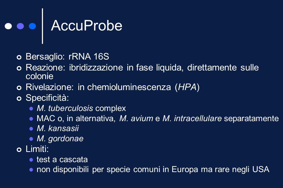 I DNA-probe commerciali AccuProbe (GenProbe) INNO LiPA Mycobacterium (Innogenetic) GenoType Mycobacteria (Hain)