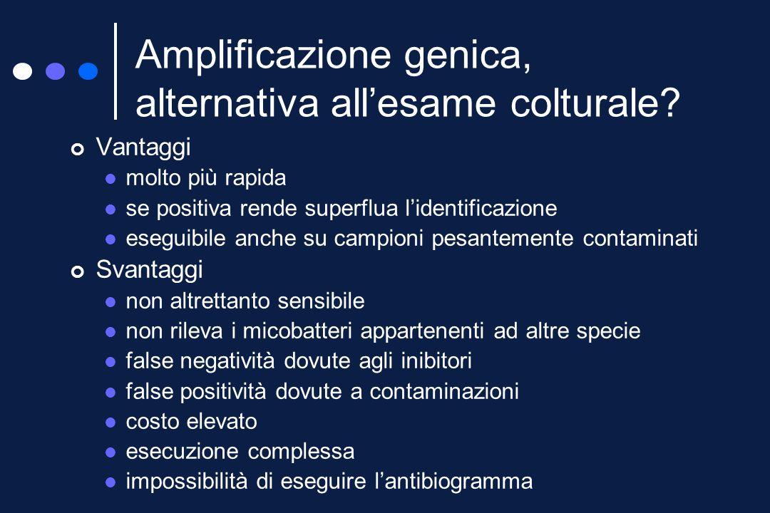 Amplificazione genica, alternativa allesame microscopico? Vantaggi sensibilità superiore (ma non di molto) specificità di specie (ed eventualmente anc