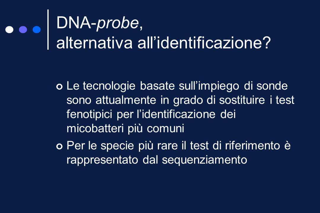 GenoType Mycobacteria MTBC Bersagli: gene codificante per lo rRNA 23S gene girB regione RD1 Reazione: ibridizzazione inversa, con 9 sonde immobilizzate su una striscia di cellulosa, del bersaglio amplificato mediante PCR (primer biotinilati) Rivelazione: colorimetrica (avidina-perossidasi) Specificità: M.