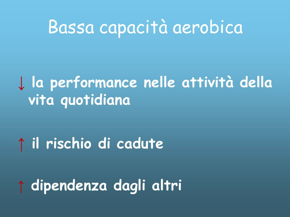 Bassa capacità aerobica la performance nelle attività della vita quotidiana il rischio di cadute dipendenza dagli altri