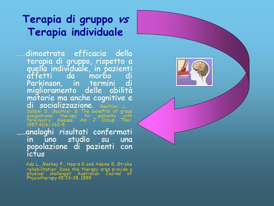 Terapia di gruppo vs Terapia individuale … dimostrata efficacia della terapia di gruppo, rispetto a quella individuale, in pazienti affetti da morbo di Parkinson, in termini di miglioramento delle abilità motorie ma anche cognitive e di socializzazione.