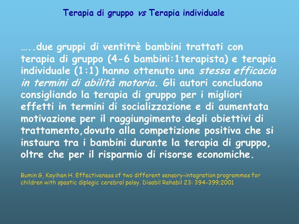 …..due gruppi di ventitrè bambini trattati con terapia di gruppo (4-6 bambini:1terapista) e terapia individuale (1:1) hanno ottenuto una stessa efficacia in termini di abilità motoria.