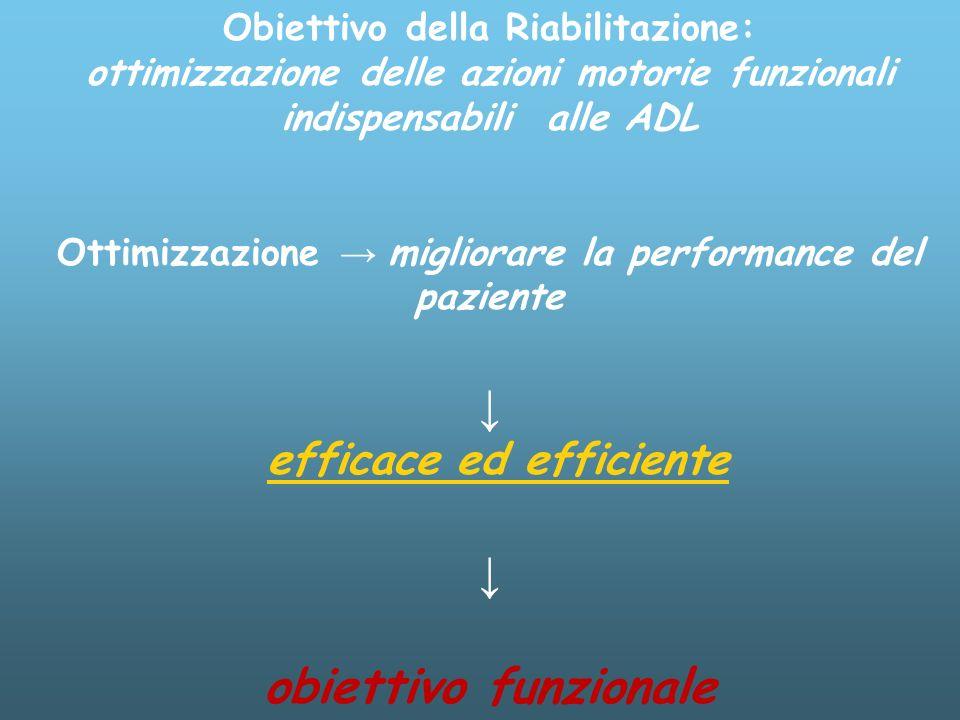 Obiettivo della Riabilitazione: ottimizzazione delle azioni motorie funzionali indispensabili alle ADL Ottimizzazione migliorare la performance del paziente efficace ed efficiente obiettivo funzionale