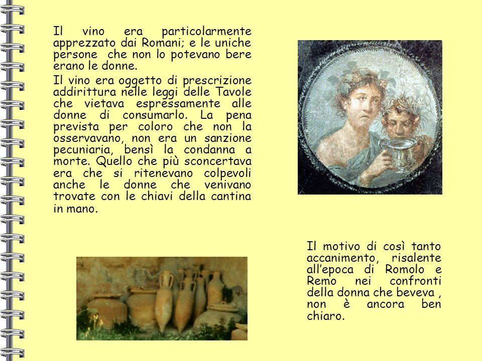 Il vino era particolarmente apprezzato dai Romani; e le uniche persone che non lo potevano bere erano le donne. Il vino era oggetto di prescrizione ad