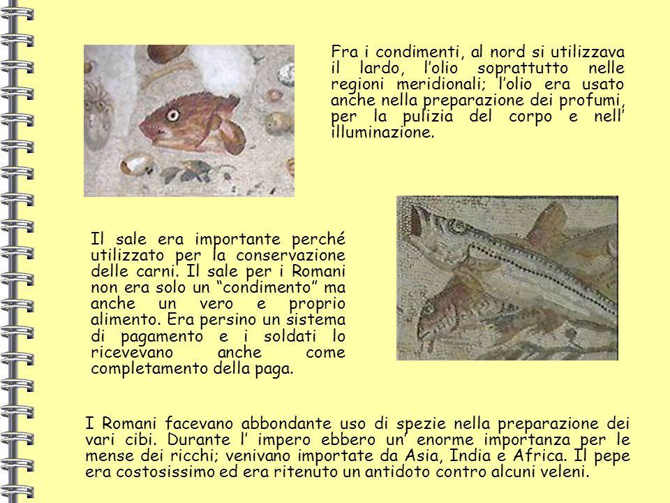 Fra i condimenti, al nord si utilizzava il lardo, lolio soprattutto nelle regioni meridionali; lolio era usato anche nella preparazione dei profumi, p