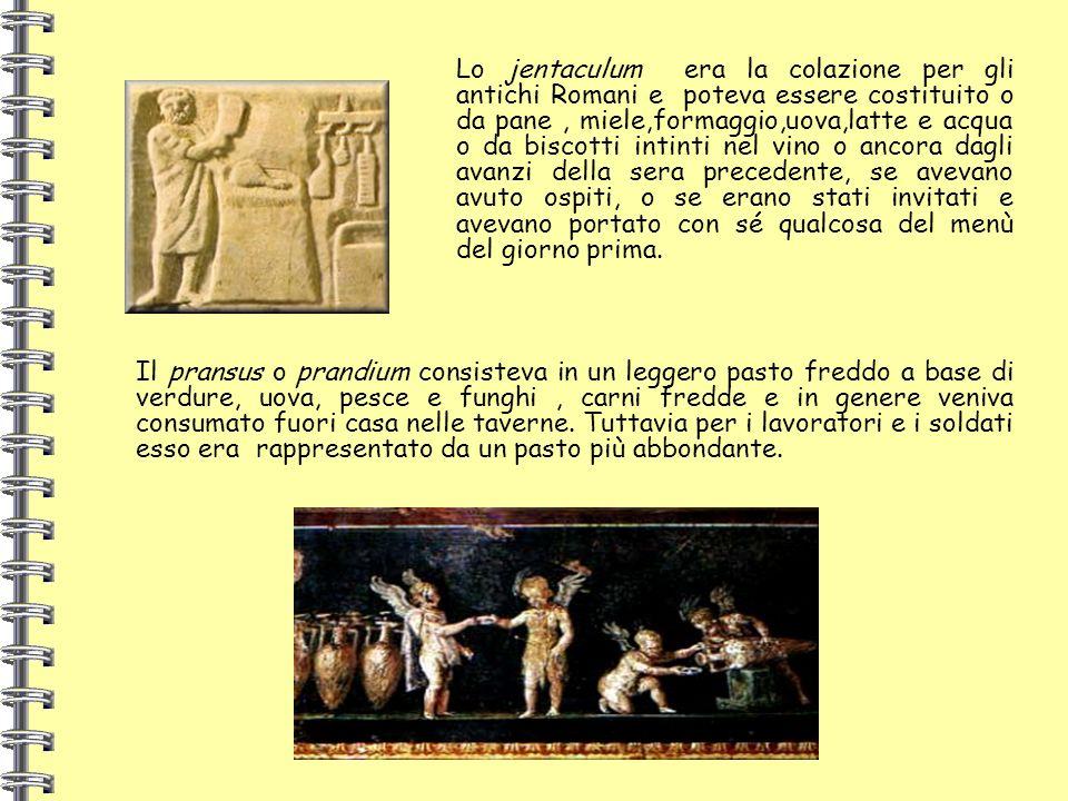Lo jentaculum era la colazione per gli antichi Romani e poteva essere costituito o da pane, miele,formaggio,uova,latte e acqua o da biscotti intinti n