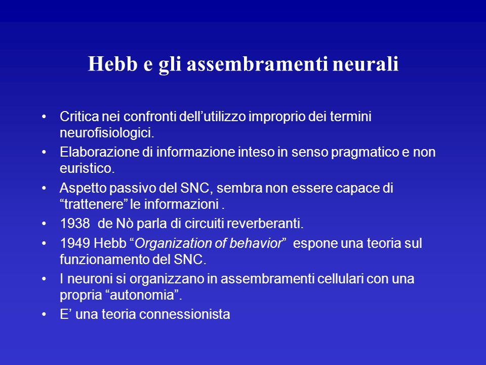 Hebb e gli assembramenti neurali Critica nei confronti dellutilizzo improprio dei termini neurofisiologici. Elaborazione di informazione inteso in sen