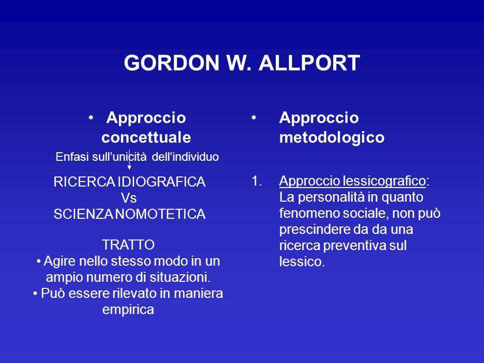 GORDON W. ALLPORT Approccio concettuale Enfasi sullunicità dellindividuo Approccio metodologico 1.Approccio lessicografico: La personalità in quanto f