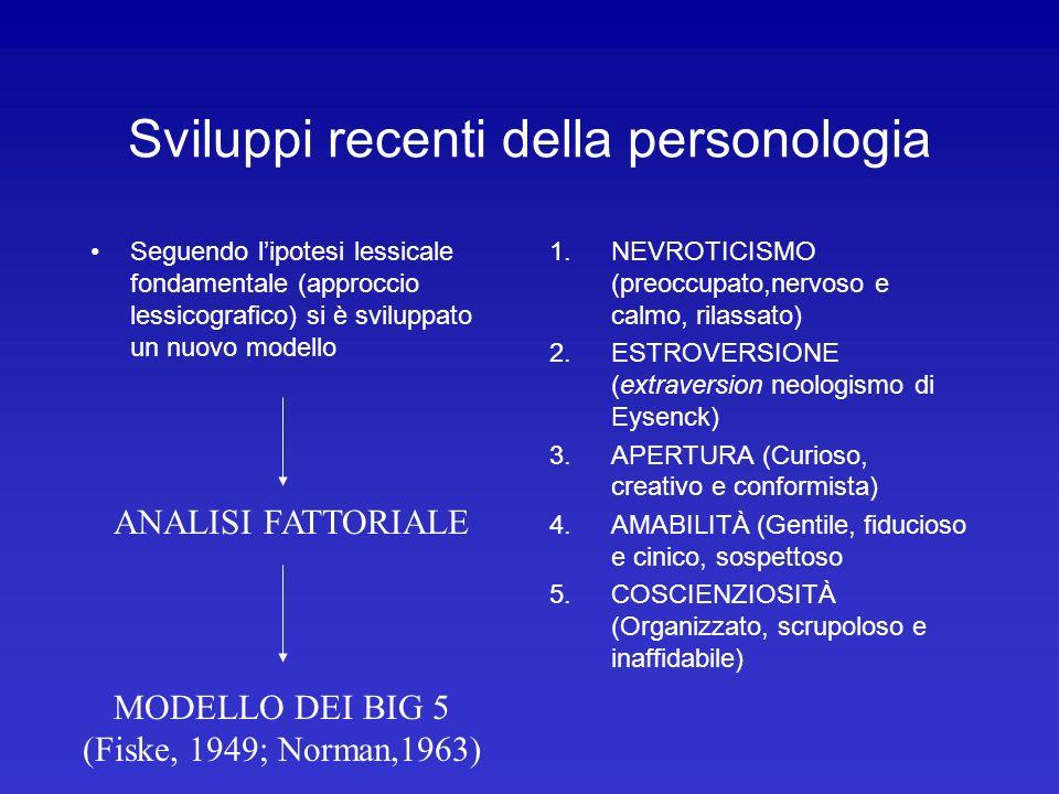 Sviluppi recenti della personologia Seguendo lipotesi lessicale fondamentale (approccio lessicografico) si è sviluppato un nuovo modello 1.NEVROTICISM