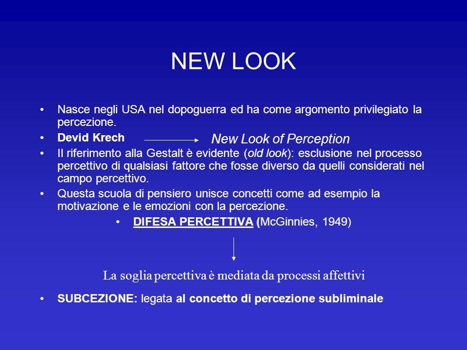 NEW LOOK Nasce negli USA nel dopoguerra ed ha come argomento privilegiato la percezione. Devid Krech Il riferimento alla Gestalt è evidente (old look)