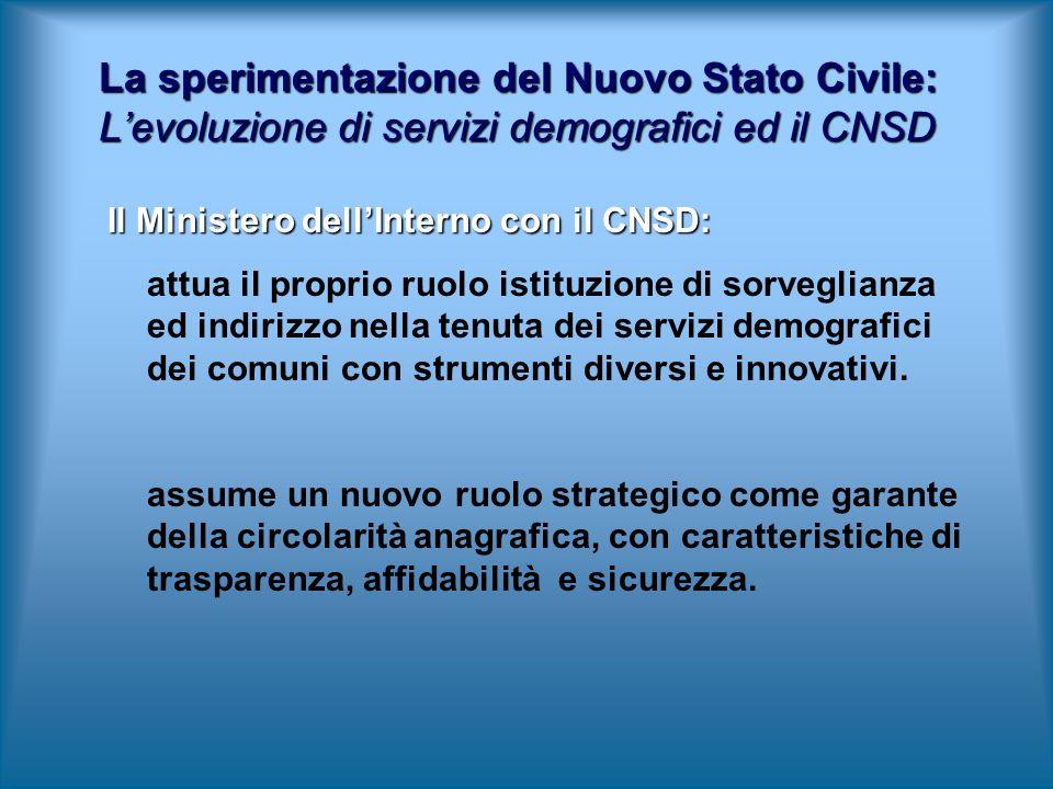 Il Ministero dellInterno con il CNSD: attua il proprio ruolo istituzione di sorveglianza ed indirizzo nella tenuta dei servizi demografici dei comuni con strumenti diversi e innovativi.