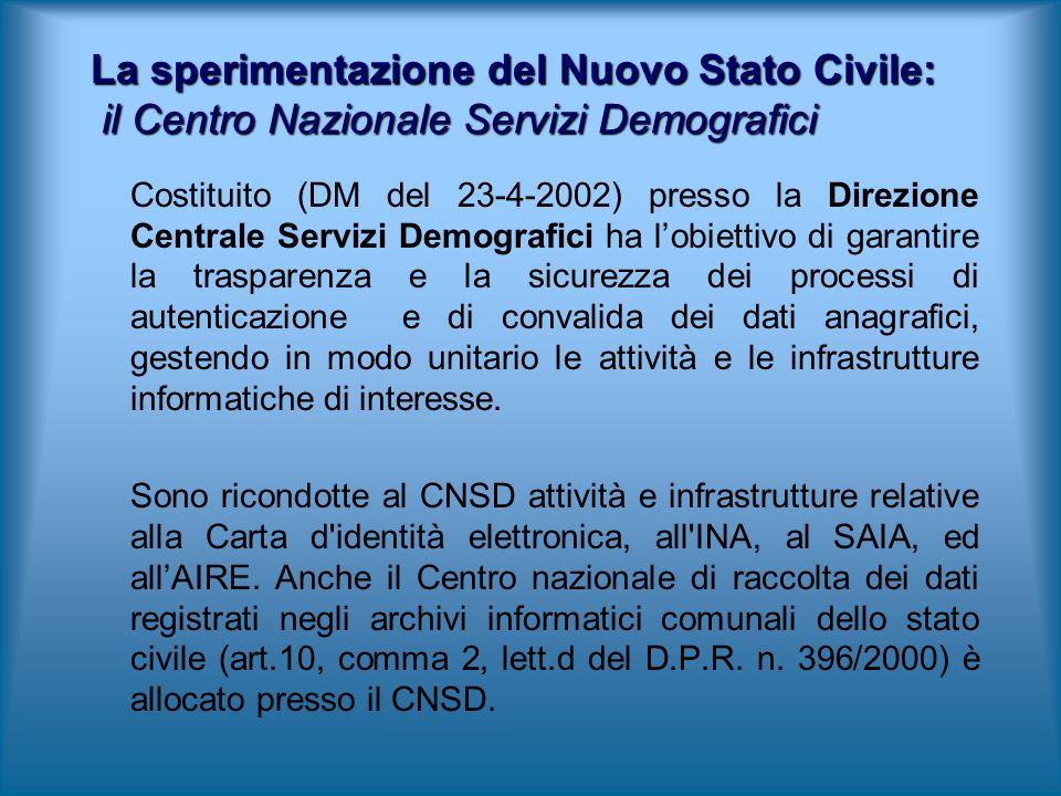 Costituito (DM del 23-4-2002) presso la Direzione Centrale Servizi Demografici ha lobiettivo di garantire la trasparenza e la sicurezza dei processi d