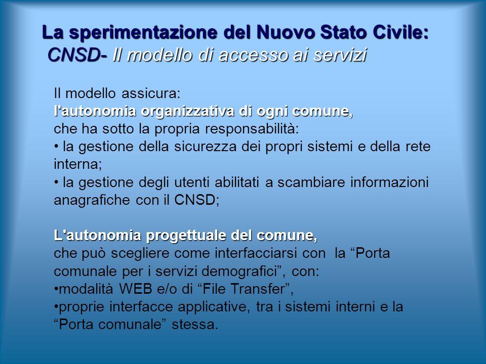 La sperimentazione del Nuovo Stato Civile: CNSD- Il modello di accesso ai servizi Il modello assicura: l'autonomia organizzativa di ogni comune, che h