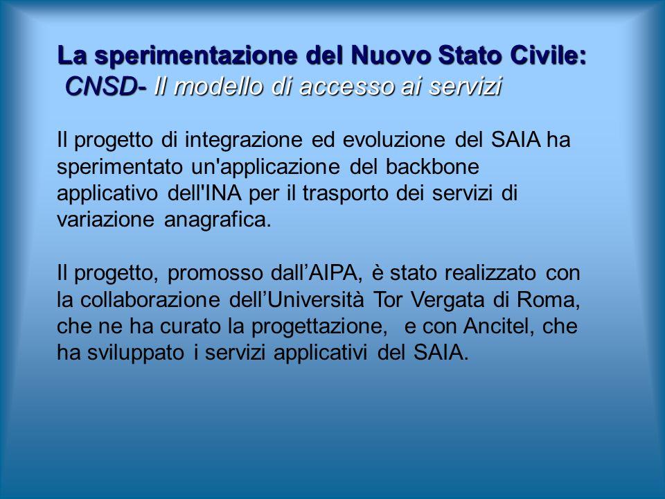 La sperimentazione del Nuovo Stato Civile: CNSD- Il modello di accesso ai servizi Il progetto di integrazione ed evoluzione del SAIA ha sperimentato un applicazione del backbone applicativo dell INA per il trasporto dei servizi di variazione anagrafica.