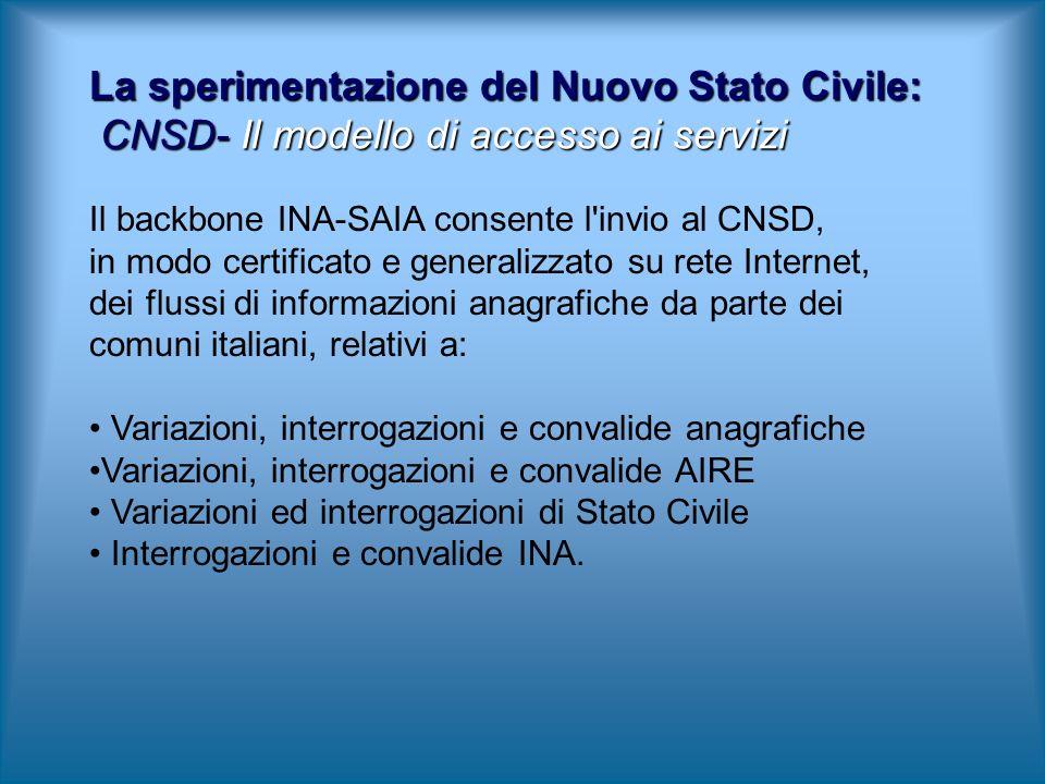 La sperimentazione del Nuovo Stato Civile: CNSD- Il modello di accesso ai servizi Il backbone INA-SAIA consente l'invio al CNSD, in modo certificato e