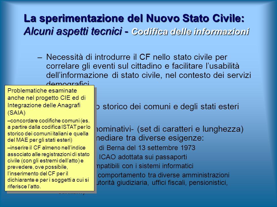 –Necessità di introdurre il CF nello stato civile per correlare gli eventi sul cittadino e facilitare lusabilità dellinformazione di stato civile, nel